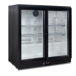 Black Double Sliding Door Bottle Cooler